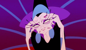 Yzma rubs her temples in exasperation.