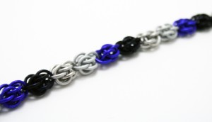 a bracelet made in the colors of the asexual flag