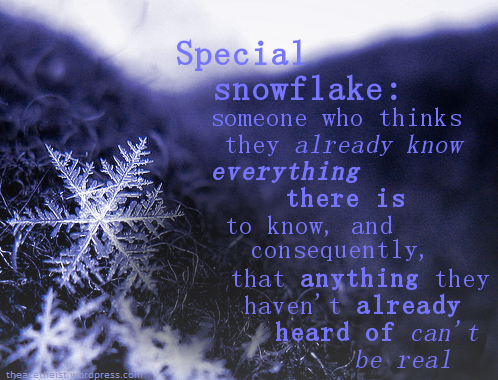 special snowflake: someone who thinks they already know everything there is to know, and consequently, that anything they haven't heard of can't be real