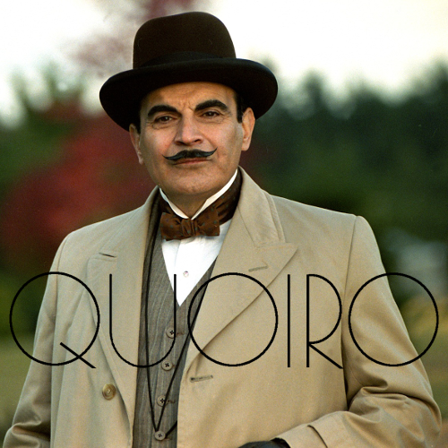 "Hercule Poirot superimposed with the text ""quoiro"""